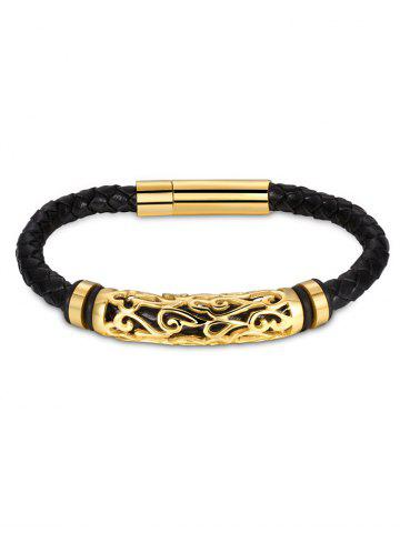 Best Hollow Out Carve Alloy Weaving Faux Leather Bracelet