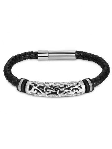 Hollow Out Carve en alliage de tissage Bracelet en faux cuir