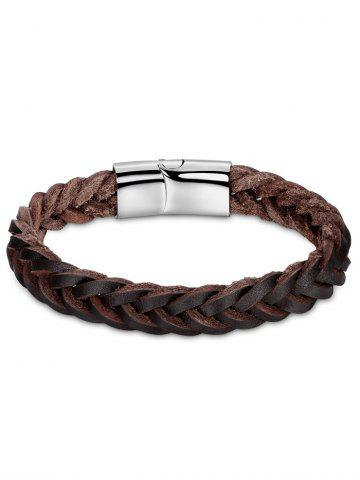 Discount Faux Leather Braid Cool Bracelet BROWN
