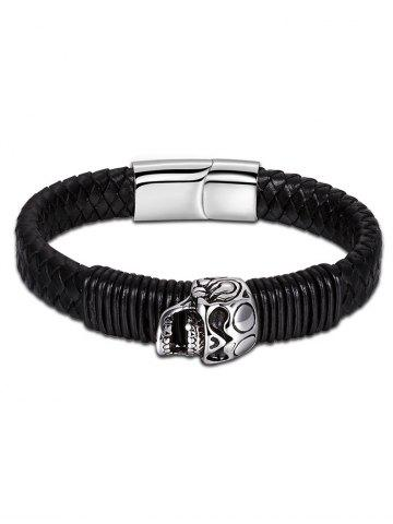 Fancy Faux Leather Halloween Skull Braid Bracelet