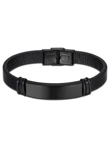 Bracelet Vintage Faux Leather Noir