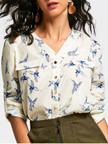 Fashion V Neck Long Sleeve Full Bird Print Shirt BEIGE M