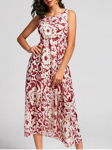 Chic Bohemian Style Printed Sleeveless Porcelain Maxi Dress For Women RED ONE SIZE