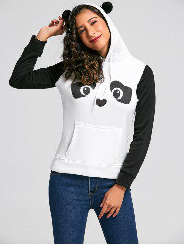 Unique Fresh Style Ear Shape Hooded Panda Print Fleece Pullover Hoodie For Women WHITE S