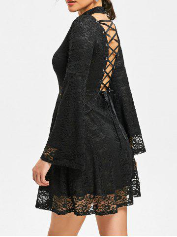 Sale Back Tie-up Mock Neck Lace Dress BLACK L