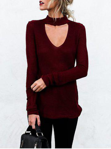 Online Choker Cut Out Long Sleeve Top