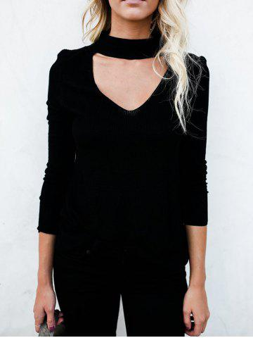 Cheap Choker Cut Out Long Sleeve Top