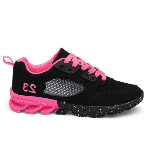 Buy Number Embroidered Splatter Paint Sole Sneakers - 36 BLACK + PINK Mobile