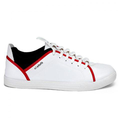 Color Block Round Toe Low Top Sneakers Blanc 39
