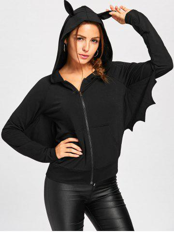 Outfit Halloween Zip Up Batwing Hoodie BLACK M