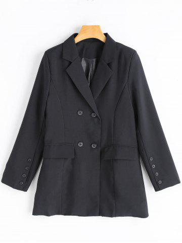 Online Double Breasted Blazer - L BLACK Mobile