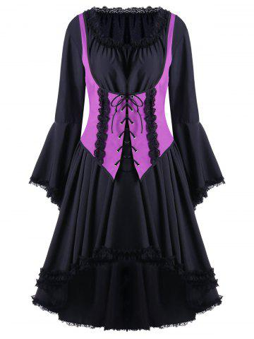 New Two Tone Halloween Lace Up Cocktail Dress VIOLET ROSE 2XL