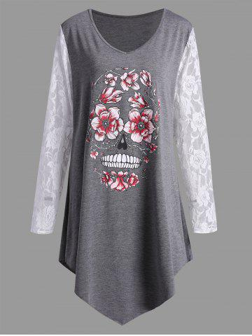 Discount Plus Size Halloween Floral Skull Lace Panel T-shirt
