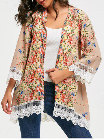 Online Collarless Lace Trim Long Floral Kimono