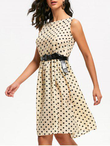 Trendy Retro Style Boat Neck Sleeveless Polka Dot Dress For Women