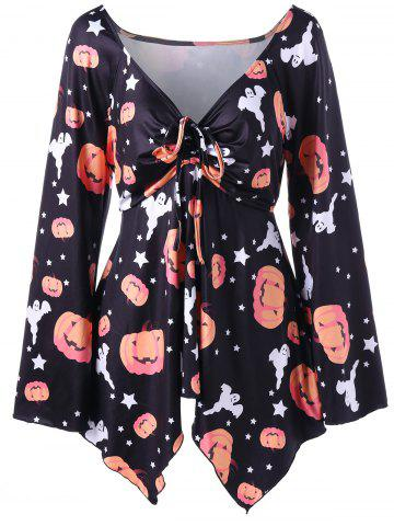 Best Halloween Pumpkin Print Plus Size T-shirt