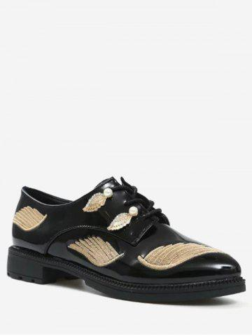 Broderie Wing Faux Pearl Chaussures plates