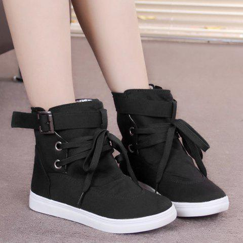 Buy Bukle Strap Casual Canvas Ankle Boots