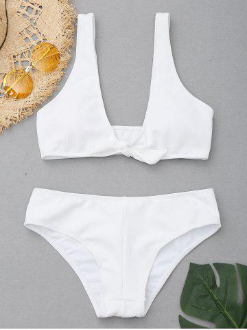 Cheap Low Cut Ribbed Knit Bikini Set