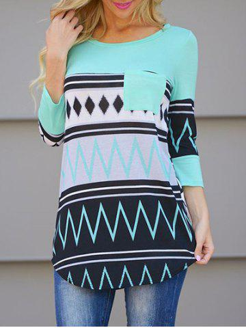 Chic Color Block Pocket T Shirt