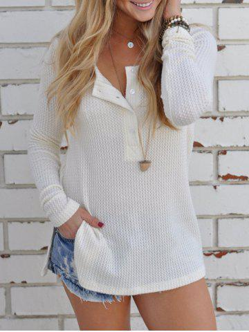 Discount Half Button Ribbed T Shirt