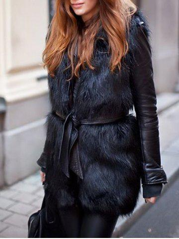 Faux Fur Panel Belted Coat