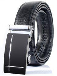 Polished Perpendicular Line Automatic Buckle Wide Formal Belt - SILVER