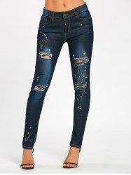 Splash Ink Print Ripped Pencil Jeans -