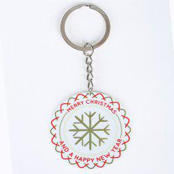 Christmas Snowflake Round Metal Key Chain -