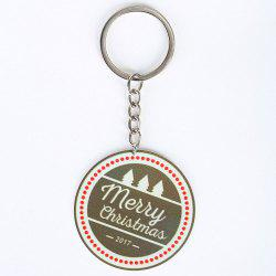 Metal Round Christmas Letter Key Chain -