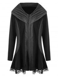 Plus Size Lace Edge Zip Up Coat - Black - 5xl