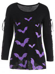 Halloween Bat Criss Cross Long Sleeve T-shirt - Black - Xl