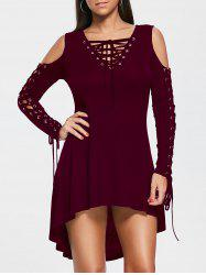 Open Shoulder Lace Up Tee Dress - DARK RED L