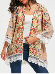 Collarless Lace Trim Long Floral Kimono - FLORAL S