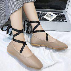 Chaussures plates Criss Cross Strap Lace Up - Kaki 36
