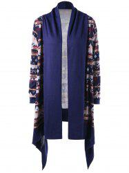 Tribal Print Open Front Drape Cardigan -