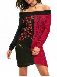 Skeleton Off The Shoulder robe de pull en détresse -