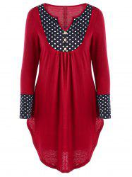 Polka Dot Curved Hem Tunic Top -