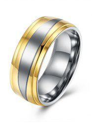 Two Tone Finger Round Ring - GOLDEN 9