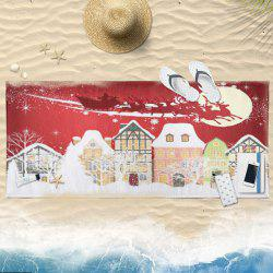 Christmas Snowscape Print Cartoon Bath Towel -