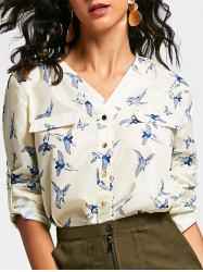 V Neck Long Sleeve Full Bird Print Shirt -