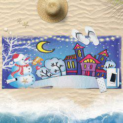 Christmas Moon Night Print Bath Towel -