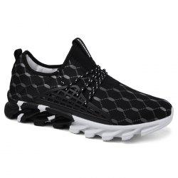 Geometric Pattern Lace-up Running Sneakers - BLACK 40