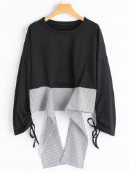 Stripe High Low Ruched Bell Sleeve Top -