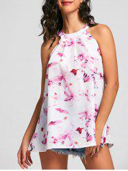 Style frais Jewel Neck manches imprimé floral Dress - Blanc S
