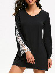 Lace Panel Bell Sleeve Mini T-shirt Dress -