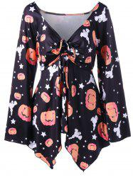 Halloween Pumpkin Print Plus Size T-shirt -