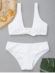 Low Cut Ribbed Knit Bikini Set -