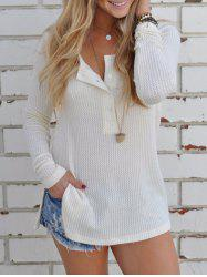 Half Button Ribbed T Shirt -