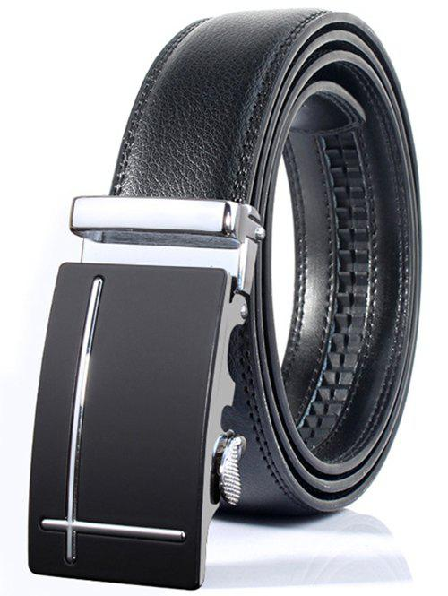 Fancy Polished Perpendicular Line Automatic Buckle Wide Formal Belt